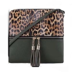Two Tone Olive Green Leopard Print Crossbody Bag